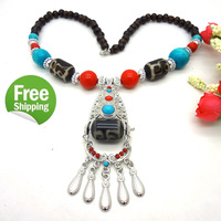 Retail 2014 New For Girls Women Vintage Style Tibetan Antique Jewelry Wooden Beads Pendants necklace collier