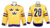 #20 Henrik Sedin Jersey Team Sweden 2010 Swift Replica Gold ICE Hockey Jerseys - Custom Stithed Your Nam Number