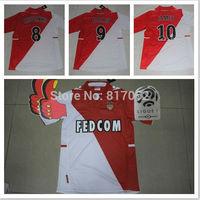 A+++ 2014 Monaco Corrent Thailand Version 14 New Home Thai Futbol Soccer Jersey 8# Moutinho 9# Falcao 39# Emmanuel Custom Name
