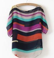 M1New 2014 Fashion Plus Size Woman Chothes Floral Print Woman Tops O-Neck Loose Chiffon Causal T Shirts Woman WF-1091 Dropshippi