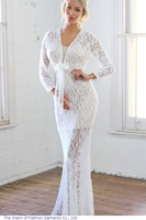 Plunging V Neck Front Tie White Lace Maxi Dress LC6751