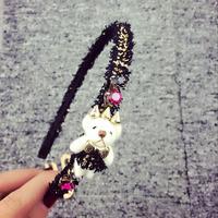 Korean wrapped around White Bear rivets hair bands hair accessories