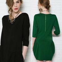 S-4XL American Apparel 2014 autumn new desigual half sleeve loose plus size women casual dress,slim show thin vestidos femininos