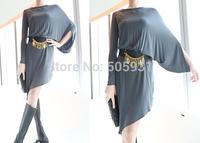 Cotton Asymmetric Dress Free Size Grey Green