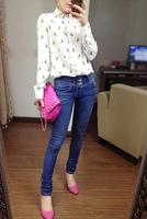 2012 autumn fashion women blouses parrot pattern long sleeved collar shirt collar anchors casual blouse