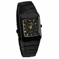 Sinobi Luxury Brand Gold Rectangle Dial Black Tungsten Steel band Watch Men Analog Quartz Wrist Watch Fashion Clock Watch