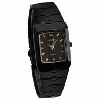 Sinobi Luxury Brand Gold Rectangle Dial Black Tungsten Steel band Watch Men Analog Quartz Wrist Watch Fashion Clock Watch