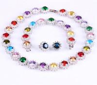 2014 Fashion white gold plated Mona lisa Necklace/Earring/bracelet cut Top quality Swiss Cubic Zirconia wedding Jewelry Set