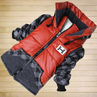2014 High Fashion Children Stitching plaid cotton-padded jacket kids thickening overcoat,Baby outerwear boy H wadded coat110-150