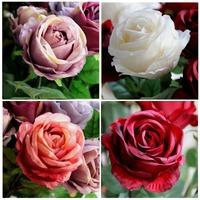 High Quality Classic 1 Head Artificial Silk Rose Natural Curly Petal 9.5cm Big Home Wedding Decorative Flowers 6pcs/lot