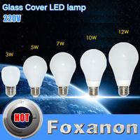 Foxanon Brand E27 3W 5W 7W 10W 12W Led Light 2835 Chip 220V Bubble Ball Bulb Lamps 360 Degree 5730 Corn Spotlight Lighting