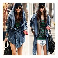 New Girl's Denim Trench Oversized Hoodie Hooded Outerwear Jean Wind Jacket 2014 Fashion Design Denim Women Coat AY658055