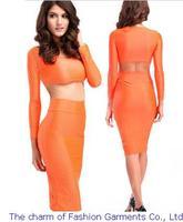 roupas femininas new european style Bandage Women 2014 5 COLORS sexy Two Piece Midi Bodycon Crop top Midi Casual Dress set