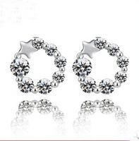 cute lucky star design allergy free  925 silver earrings  cubic zirconia earrings invicta  SKY-17