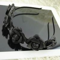 European American retro big black leather flower hair hoop headband hair accessories
