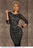 Party Dress Women Black Long sleeve Lace vintage casual knee length bodycon dress LC6142 dress european style women winter