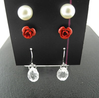 Rose Flower Pearls and Water Drop Beads Earrings Sets 3pcs/set