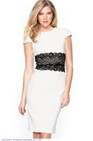 roupas 2014 Black White Red vestido de festa Short Sleeve O-Neck Lace Midi Dress Women vestidos femininos