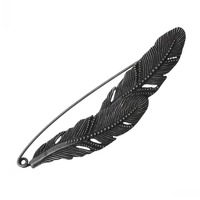 """Dorabeads Safety Brooches Pins Feather Antique Silver 8.3cm x 2.2cm(3 2/8"""" x 7/8""""),3PCs"""