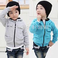 2014 autumn boys clothing child fleece with a hood sweatshirt fashion causal child coats  handsome jiackets free shipping