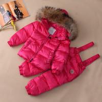 Children Kid's Unisex Girl Boy Duck Down Padded Jacket Pants Set Coat Trousers Parkas Puffers Outerwear For Winter