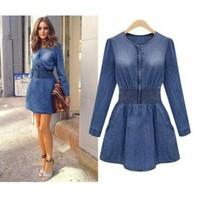 New fashion women denim dresses o-neck long sleeve dress smoke banding denim dress plus size Jeans