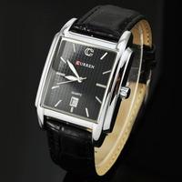 2014 Curren Brand Leather Starp Watches Male Clock Fashion Casual Men Quartz Watch Rectangle Dial Calendar Milatry Wrist Watch