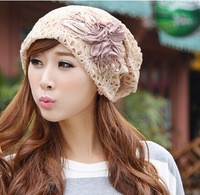 2014 Autumn and winter free shipping fashion fabric lace embrodiery flower cap and headband women's fashion accessories