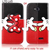 New Flower Cartoon Bow bowknot Leather case cover For LG L70 D320 D325 L65 D285 D280