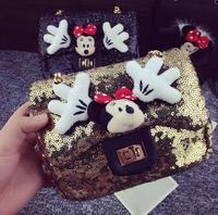 2014 fashion Little Mouse cartoon palm sequined bow bag shoulder bag purse