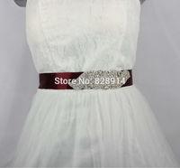 Wholesale Luxury Clear Crystal Applique Win Satin ribbon Bridal Sash Wedding Dress Belt New Design