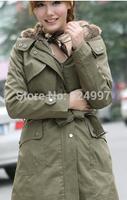 free shipping Hot Sale Faux fur lining women's winter warm long fur coat jacket clothes wholesale, drop shipping