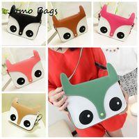 2014 New Women Ladies Retro Shoulder Bag Fashion Messenger Bags Cute School Tote Owl Fox PU Handbag girl cute shoulder bag z3196
