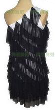 Exotic dance ballroom dancing Latin dance single shoulder multi-level gauze lotus Latin exercise skirt W11018