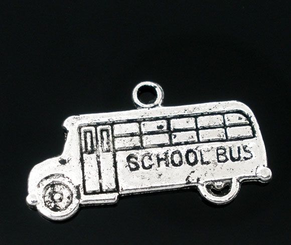 Retail 50 Antique Silver School Bus Charms Pendants 23x13mm(China (Mainland))