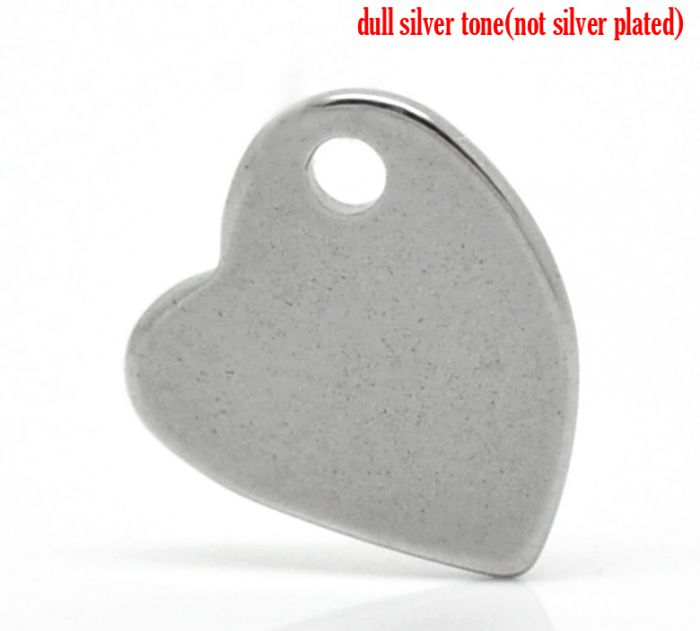 """Retail 20PCs Silver Tone Stainless Steel Blank Stamping Tags Love Heart Charm Pendants 11mmx10mm(3/8""""x 3/8"""")(China (Mainland))"""