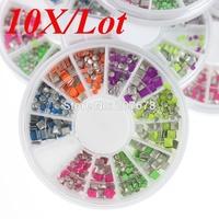 10X/Lot 2 Styles 6 Colors Neon Stud Rhinestone Fashion Nail Art DIY Decoration wheels nail tools Free Shipping