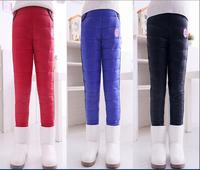 retai 2014 NEW girls winter windproof pants children's warm plus velvet & down trousers thicken design