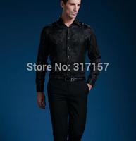 2014 new style  100% real silk Casual shirt men's shirt /silk men's shirts full sleeve