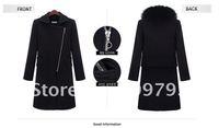 Cloth coat + fox fur collar  Newest Women's 95% cashmere Winter warm coat,Winter Noble long jacket with fox fur co