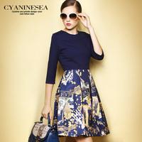 2014 autumn print fashion patchwork fifth sleeve slim pleated dress