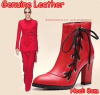 2014 Women Genuine Leather Red Platform Ankle Boots Sexy Lacing Winter Autumn Ladies Elegant High Heels Pimps Shoes Plus Size 40