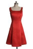 Square Neckline A-line Short Bodice Women 2014 Side Zipper Autumn Party Dresses