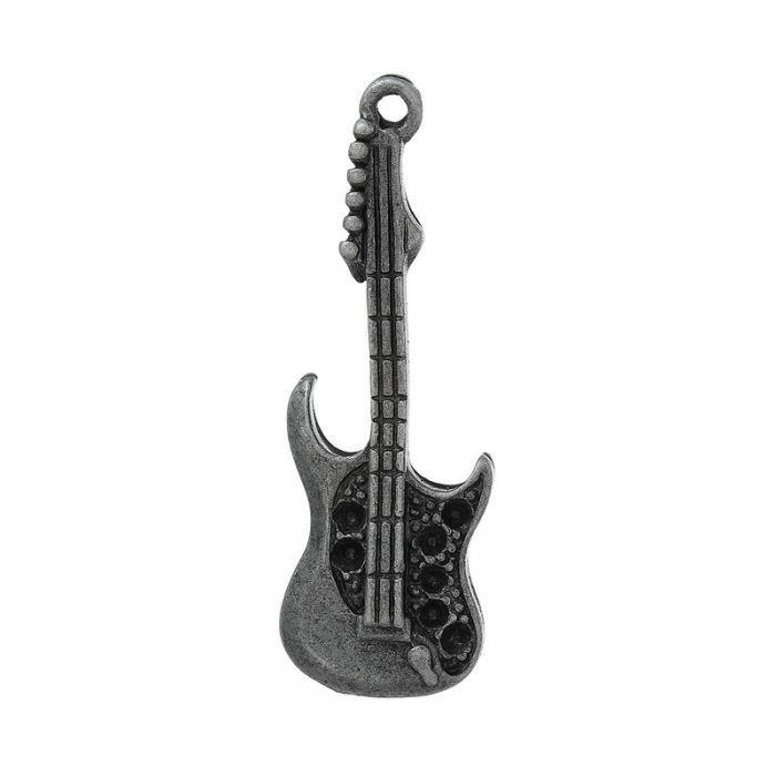 "Retail Charm Pendants Guitar(Can Hold ss6 Rhinestone)Original Color 3.7cm x 1.3cm(1 4/8"" x 4/8""),30PCs(China (Mainland))"