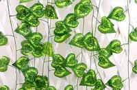 DIY Artificial Flowers Vine GREEN love heart shape 30 leaves Wedding Vine wedding decoration simulation flowers vines decorative