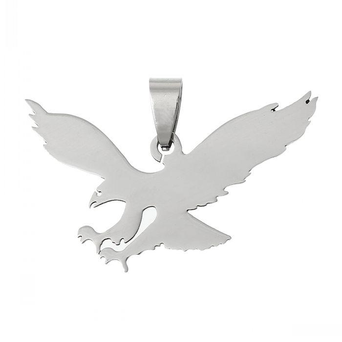 Retail Stainless Steel Charm Pendants Eagle Silver Tone 3.9cm x 2.5cm,5PCs (China (Mainland))