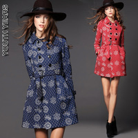 2014 british style double breasted lacing medium-long cotton-padded trench outerwear female elegant