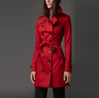Free shipping Outerwear 2014 new fashion the original brand dust coat classic trade Trench coats, Size S-XL, Red and black Color