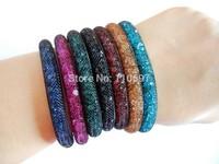 Free CN Shipping Fashion 3pcs Net Resin Rhinestone Beads Women Lady Magnetic Snap Girls Bangle Bracelets