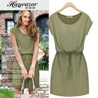 Vintage chiffon women's 2014 solid color drawstring short-sleeve dress slim medium skirt